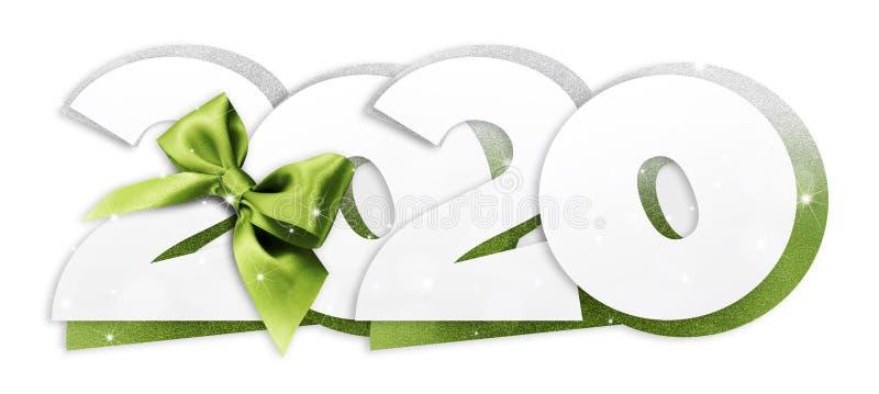 2020 Gott nytt års text med grönt band isolerat på vit bakgrund för Flyers and Greetings Card Perfekt att använda för stock illustrationer