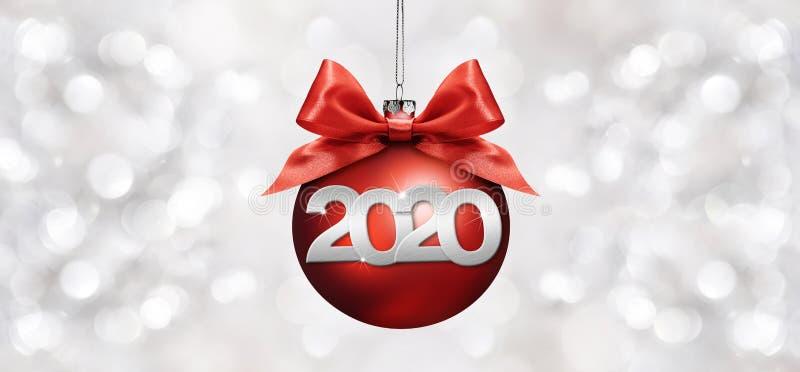 2020 Gott nytt års text med röda julklappar och band isolerade på silversuddiga ljus Bakgrund för flygblad och stock illustrationer