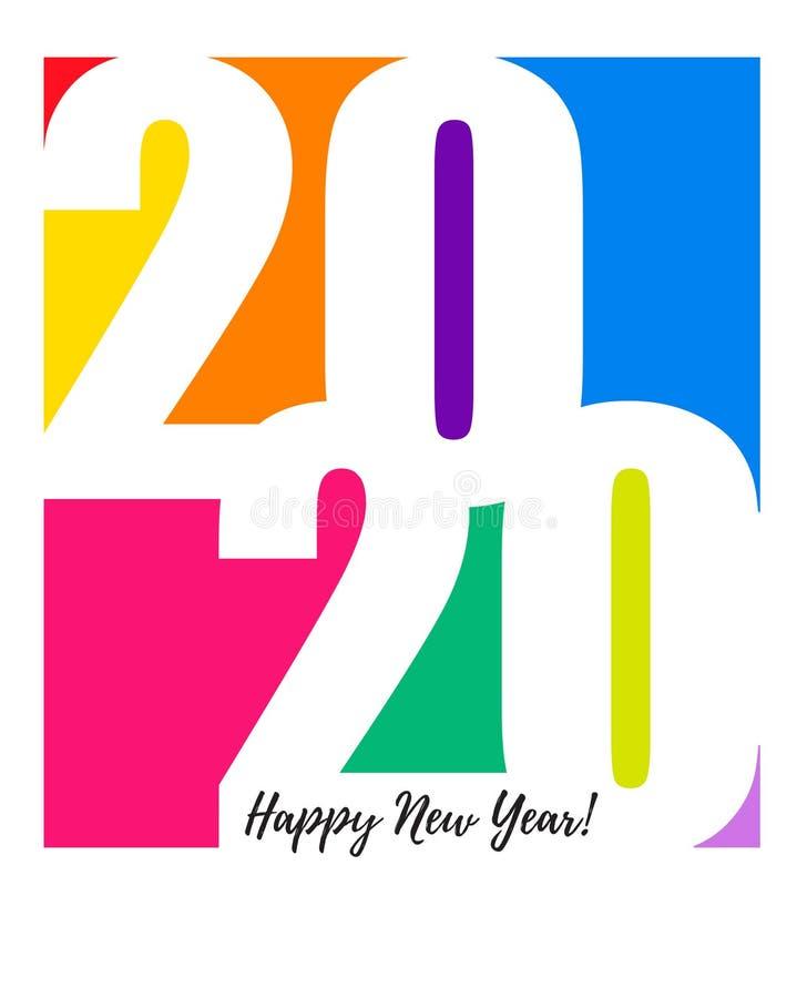 2020 Gott nytt årskort Multicolor, bakgrund vektor illustrationer