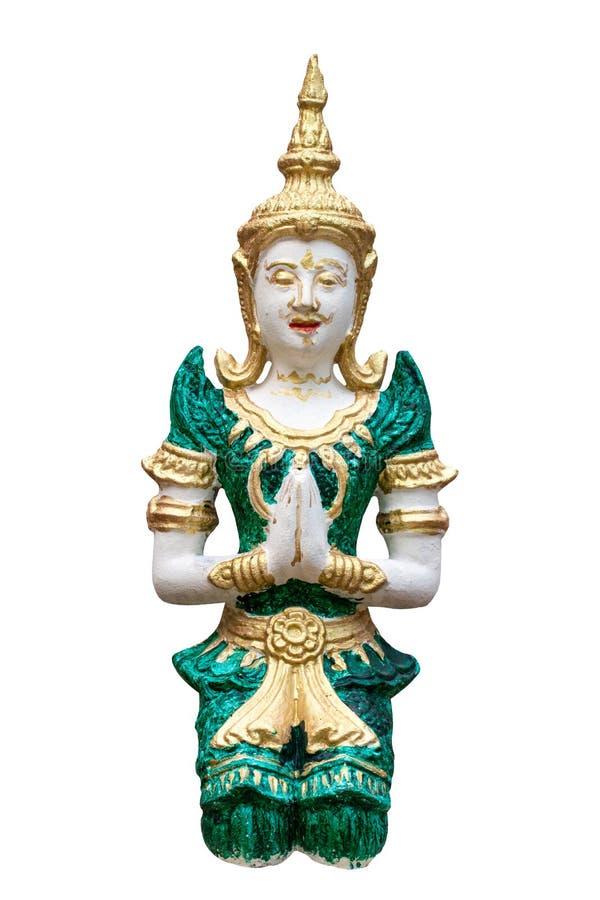 Gott- oder Engelsstuck auf weißem Hintergrund im Tempel Chiang Mai stockfotos