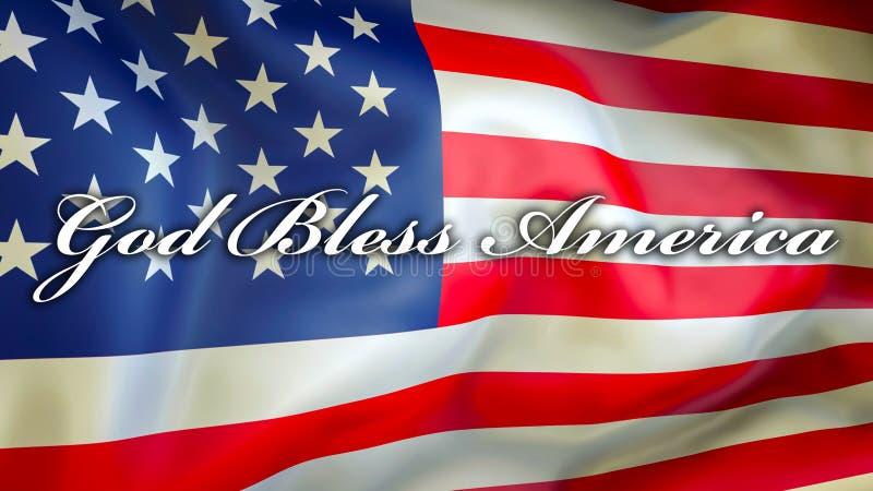 Gott segnen Amerika auf einem USA-Flaggenhintergrund, Wiedergabe 3D Staaten von Amerika fahnenschwenkend im Wind Stolze amerikani lizenzfreie abbildung