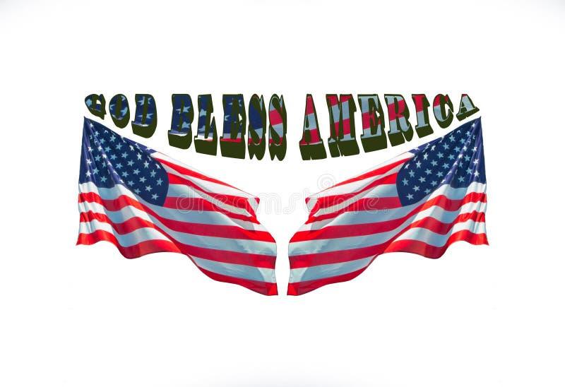 Gott segnen Amerika mit zwei USA-Flaggen stock abbildung