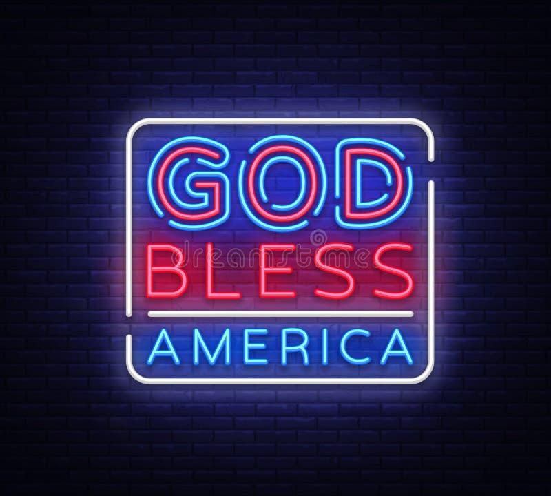 Gott segnen Amerika-Neonvektorzeichen USA-Symbolfahnenlicht, helle Nachtillustration Auch im corel abgehobenen Betrag vektor abbildung