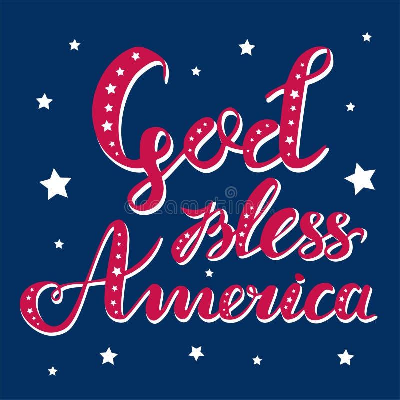 Gott segnen gezeichnete Vektorbeschriftung Amerikas die Hand, die mit Sternen für Poster, Grußkarten und Netzfahnen verziert wird vektor abbildung