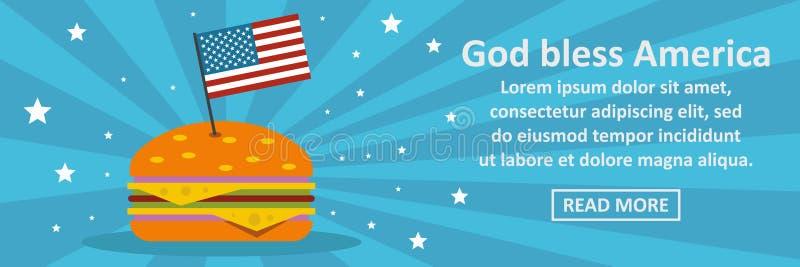 Gott segnen horizontales Konzept Amerika-Fahne vektor abbildung