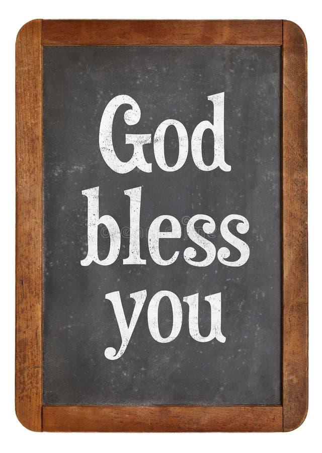 Gott segnen Sie auf Tafel stockbild