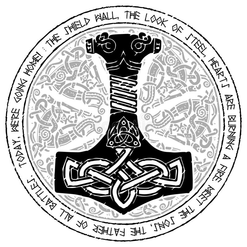Gott Thor Hammer - Mjollnir Runde traditionelle skandinavische Verzierung und Runen- Text vektor abbildung