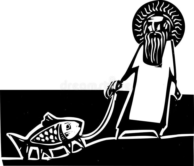 Gott und Darwin lizenzfreie abbildung