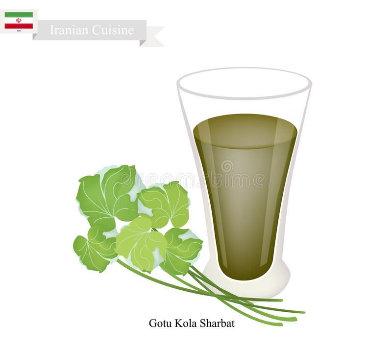 Gotu Kola Sharbat or Iranian Gotu Kola Drink with Syrup. Iranian Cuisine, Gotu Kola Sharbat or Traditional Drink Made From Gotu Kola Leaves and Aromatic Syrup royalty free illustration