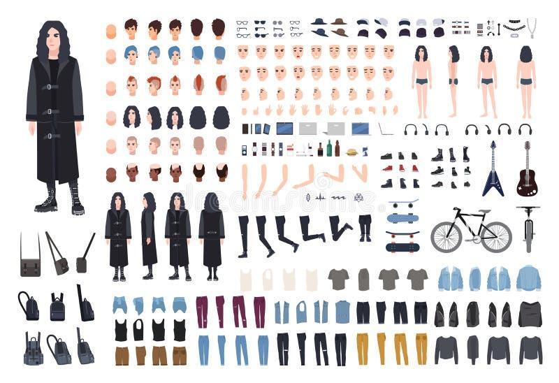 Gotu lub metalu bujaka tworzenia set Kolekcja nastolatka ` s części ciała, różnorodny subkultury ` przypisuje, ubrania i ilustracji