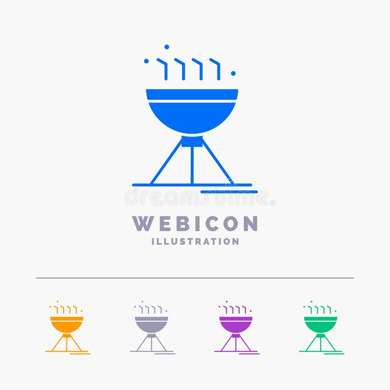 Gotujący bbq, camping, jedzenie, grilla 5 koloru glifu sieci ikony szablon odizolowywający na bielu r?wnie? zwr?ci? corel ilustra ilustracji