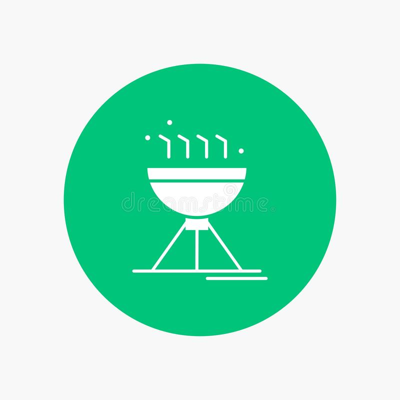 Gotujący bbq, camping, jedzenie, piec na grillu Białą glif ikonę w okręgu Wektorowa guzik ilustracja royalty ilustracja