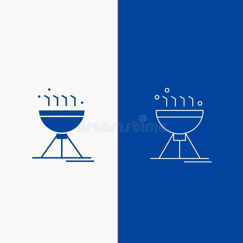 Gotujący bbq, campingu, jedzenia, grill linii i glifu sieć, Zapina w Błękitnego koloru Pionowo sztandarze dla UI, UX, strona inte ilustracja wektor
