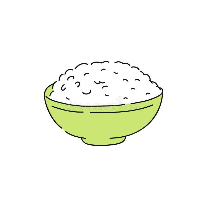 Gotujący biali ryż w zielonym pucharze ilustracji
