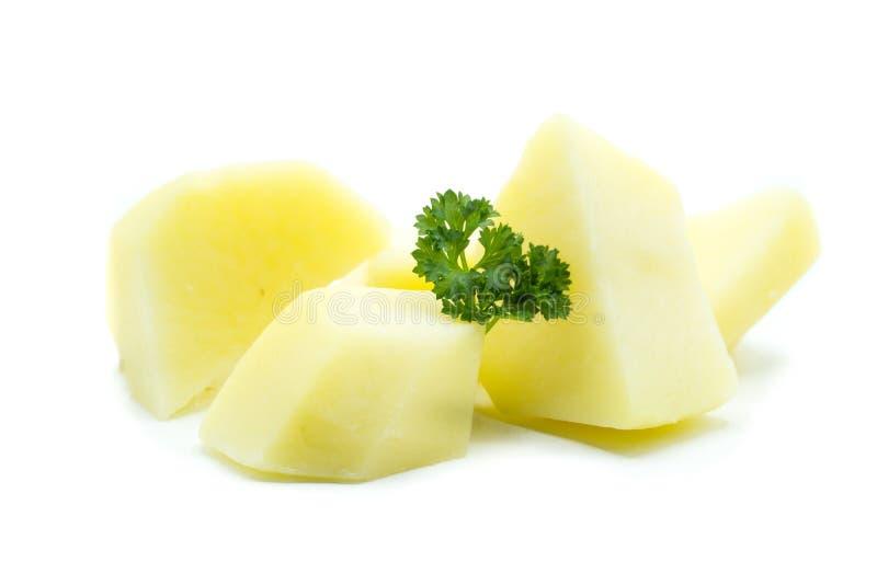 Gotujący kartoflany kawałek odizolowywający na białym tle zdjęcie royalty free
