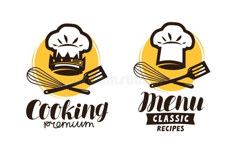 Gotujący, kuchnia logo Etykietka dla restauracyjnego lub cukiernianego menu również zwrócić corel ilustracji wektora ilustracja wektor
