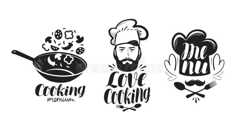 Gotujący, kuchnia logo Przylepia etykietkę set dla projekta menu kawiarni lub restauraci Ręcznie pisany literowanie, kaligrafia w royalty ilustracja