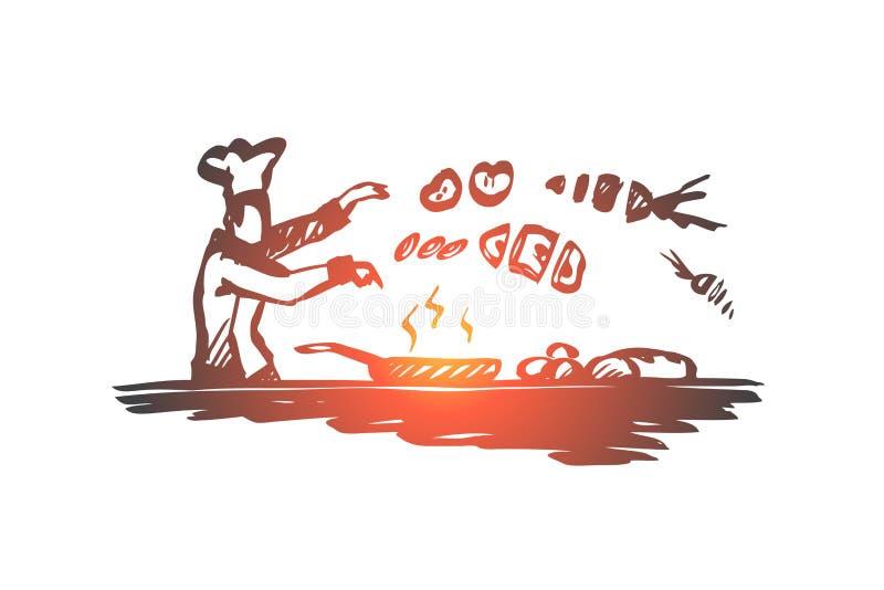 Gotujący, szef kuchni, jedzenie, naczynia pojęcie Ręka rysujący odosobniony wektor ilustracja wektor
