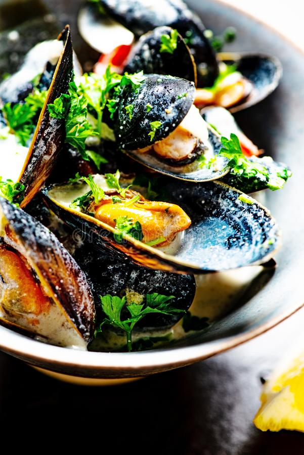 Gotuj?cy b??kitni mussels obraz royalty free