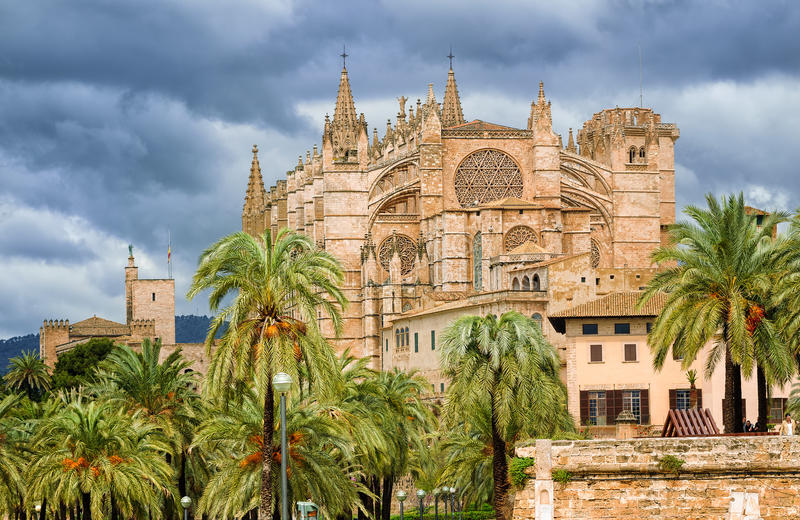 Gotyk stylowa kopuła Palma de Mallorca, Hiszpania fotografia royalty free
