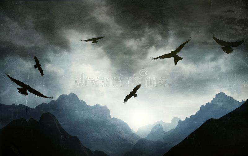 Gotyka krajobraz pasmo górskie z jastrzębiami w backlight ilustracja wektor