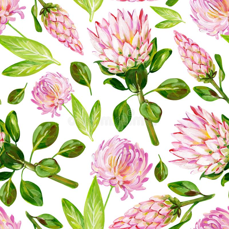Gouache bloemen roze naadloos patroon met Protea en Chrysant vector illustratie