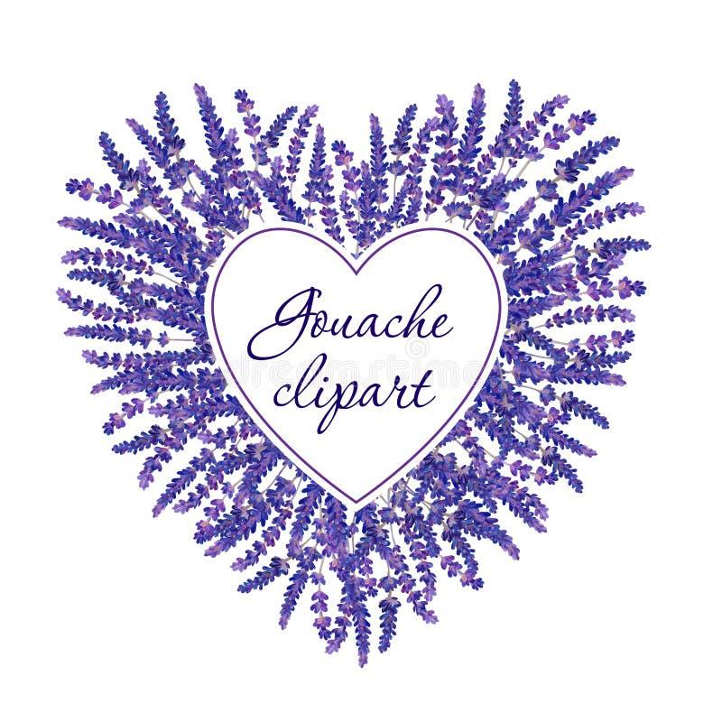 Gouache bloemenhart met te vullen lavendel en wit gebied Hand-drawn clipart voor het kunstwerk en weddind ontwerp royalty-vrije stock foto's