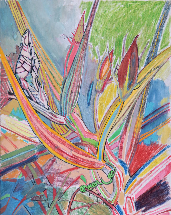 Gouache and colored pencils drawing of leaves and buds in the grass stock image