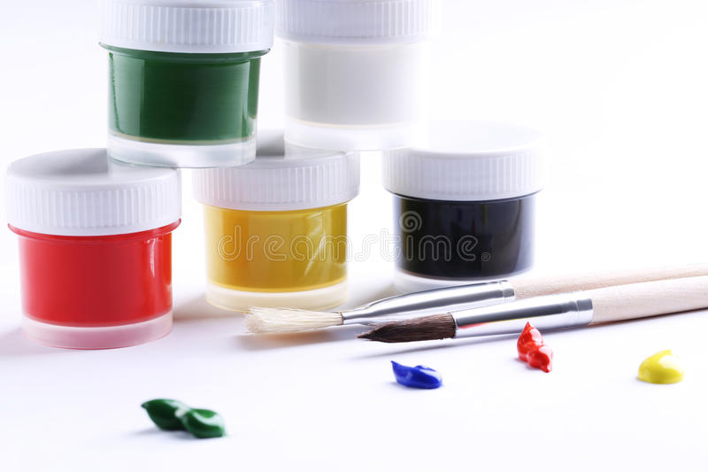 Gouache in containers royalty free stock photography