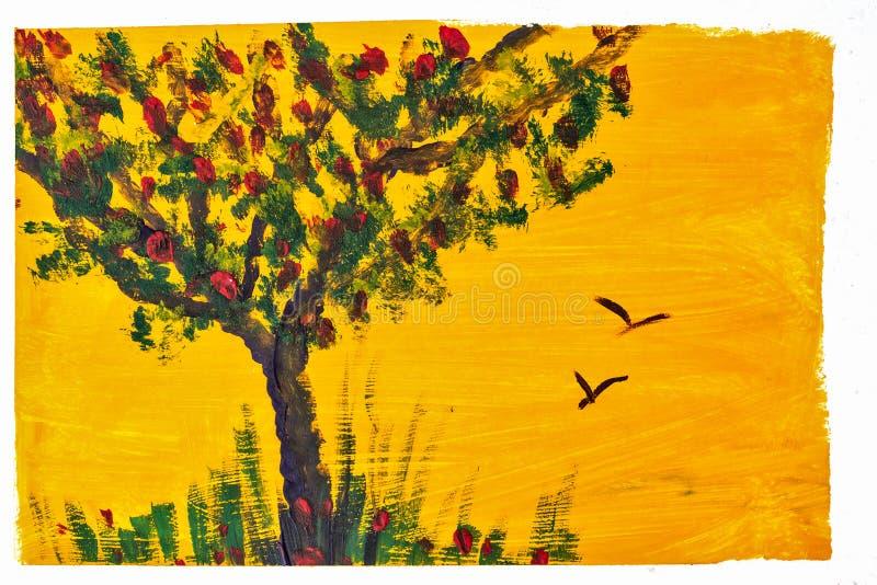 Gouache de dessin d'arbre et d'herbe illustration stock