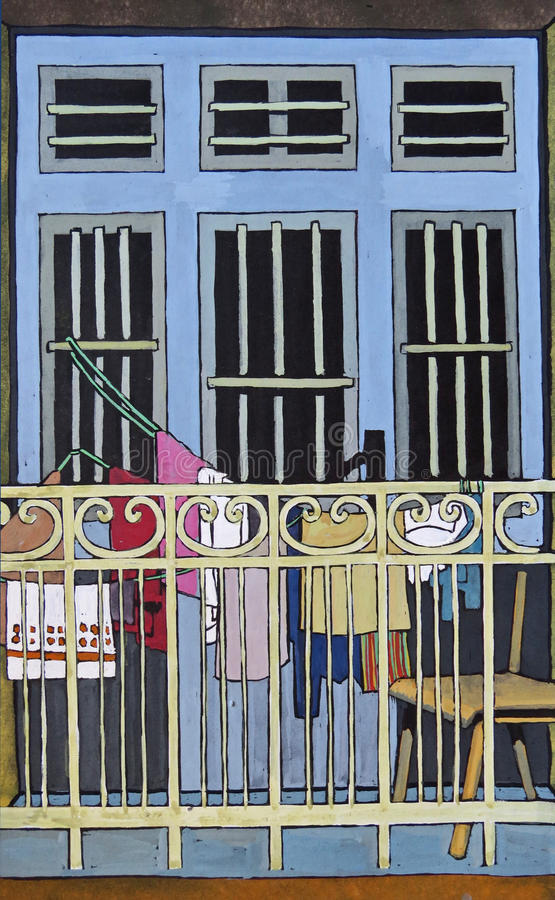 Gouache drawing of window and balcony royalty free stock photos