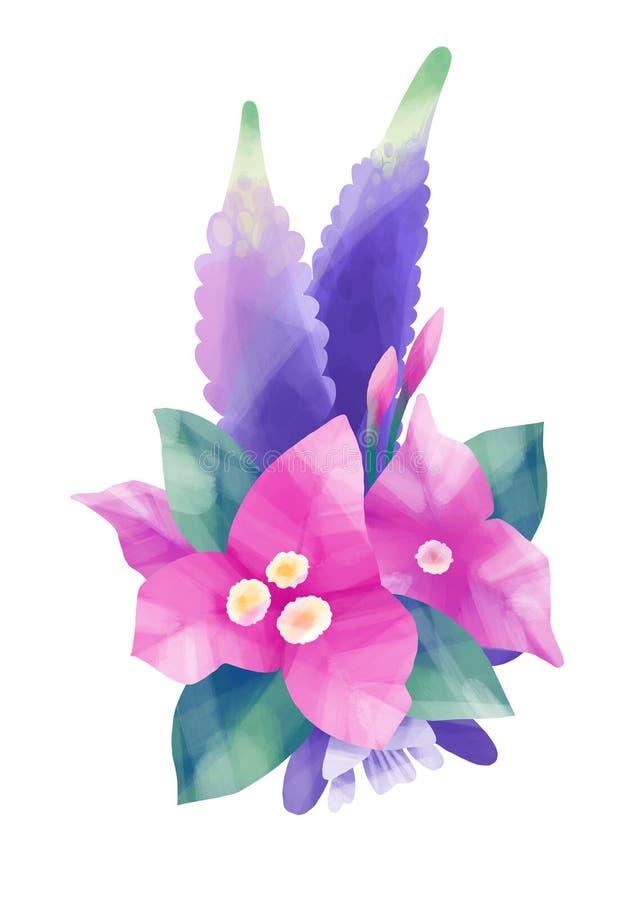 Gouache exotisch bloemenontwerp royalty-vrije illustratie