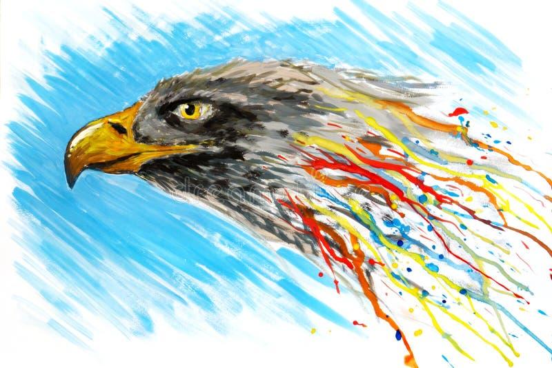 gouache geschilderde adelaar royalty-vrije stock afbeelding