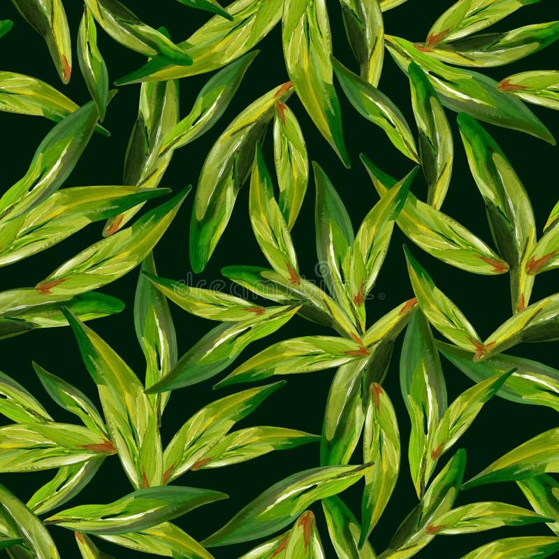 Gouache naadloze groene theebladen op een donkere achtergrond royalty-vrije illustratie