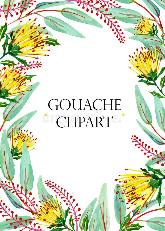 Gouache natural rectangular frame with yellow flower, green leaves and red floral branches vector illustration