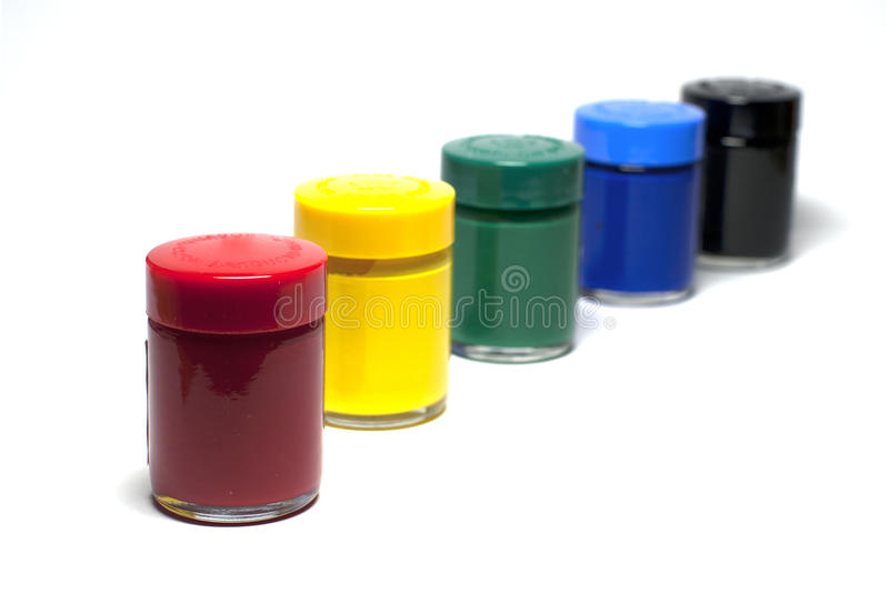 Gouache Paint Focus On Red Over White Royalty Free Stock Images