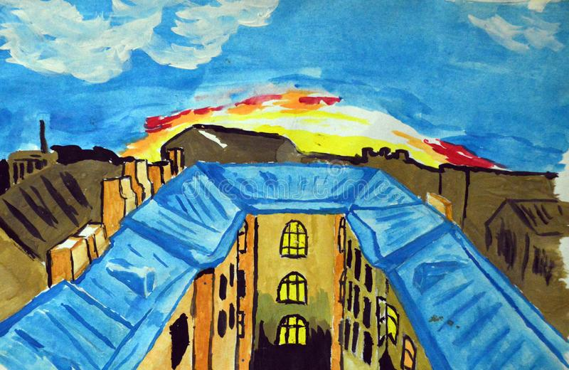 Gouache painted city roofs on the dawn background stock illustration