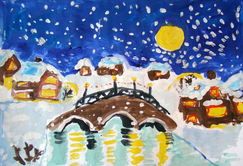 Christmas village landscape made by child. Gouache painting of a little village with a stone bridge in the center. It`s Christmas night, everyone is awake and royalty free illustration