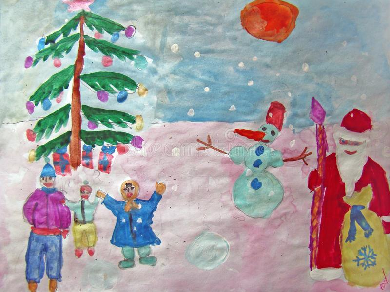 Happy New Year painted by child royalty free illustration