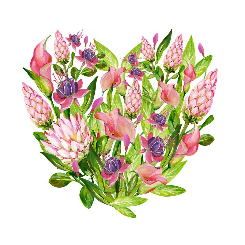 Gouache pink floral heart with pink Protea, pink Calla, green leaves and Fuchsia flowers stock illustration