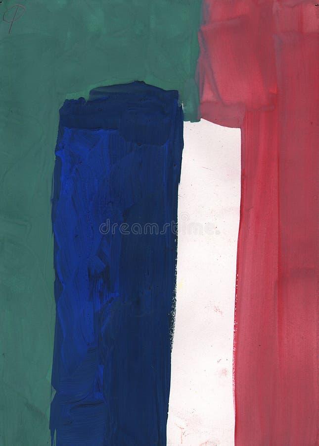 Gouache primitive simple abstraite de peinture - bleue, vert, blanc photographie stock libre de droits