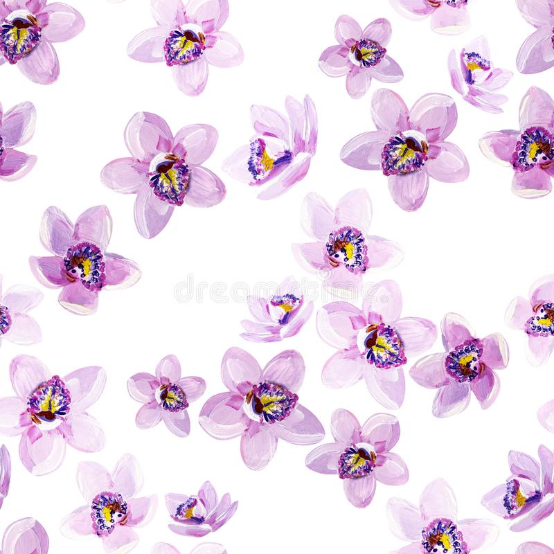 Gouache seamless floral pattern with lilac orchids vector illustration