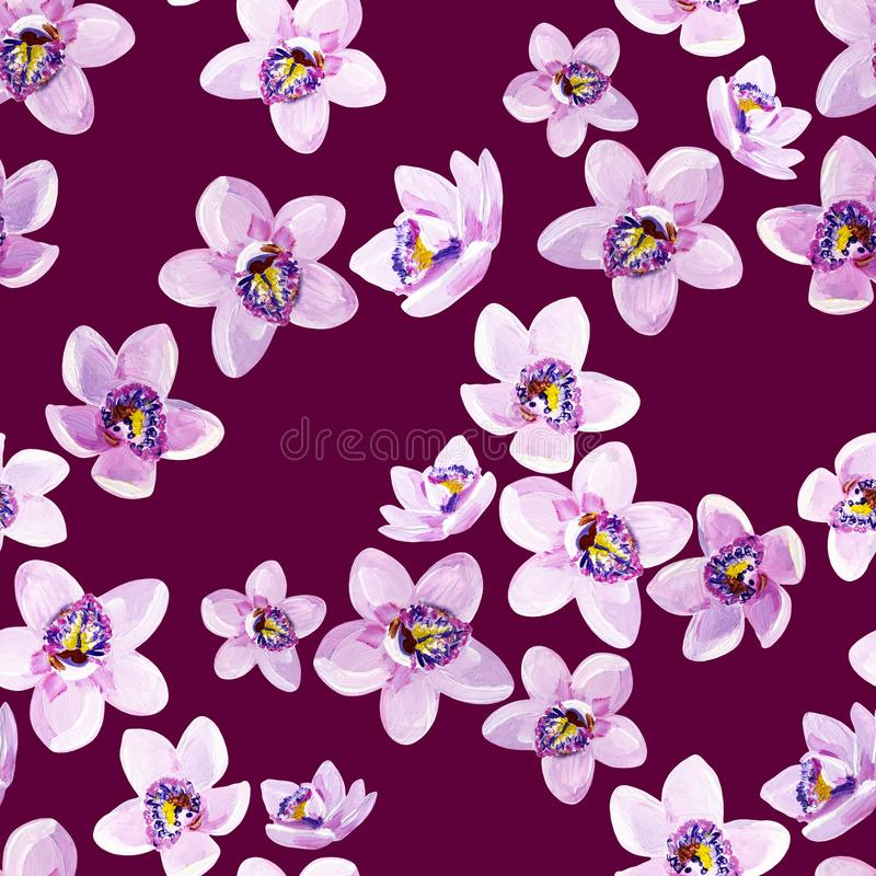 Gouache seamless floral pattern with lilac orchids on a purple background vector illustration