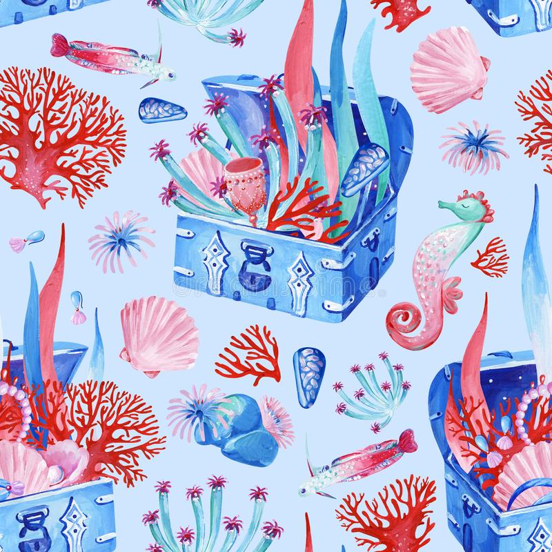Gouache seamless undersea old chest with treasure on a blue background. For art work and weddind design vector illustration