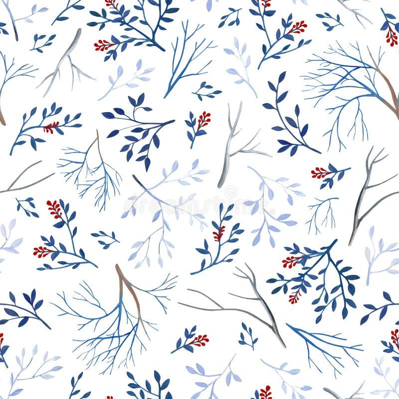 Gouahe naadloos patroon met rode bes, takken en bladeren stock foto