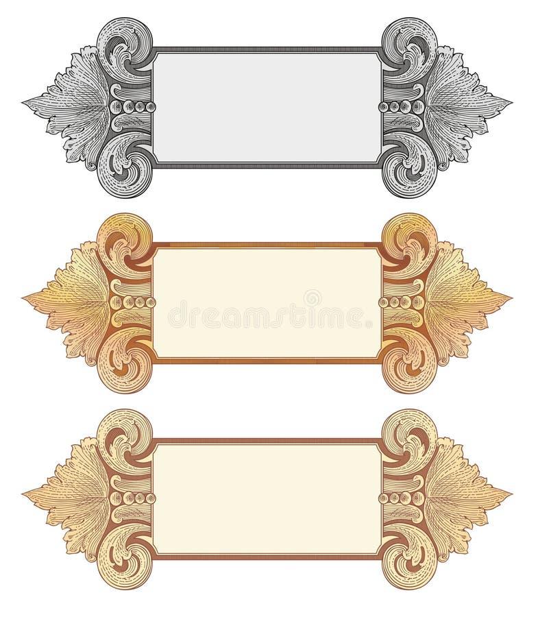 Goud 4 van cartouches royalty-vrije illustratie