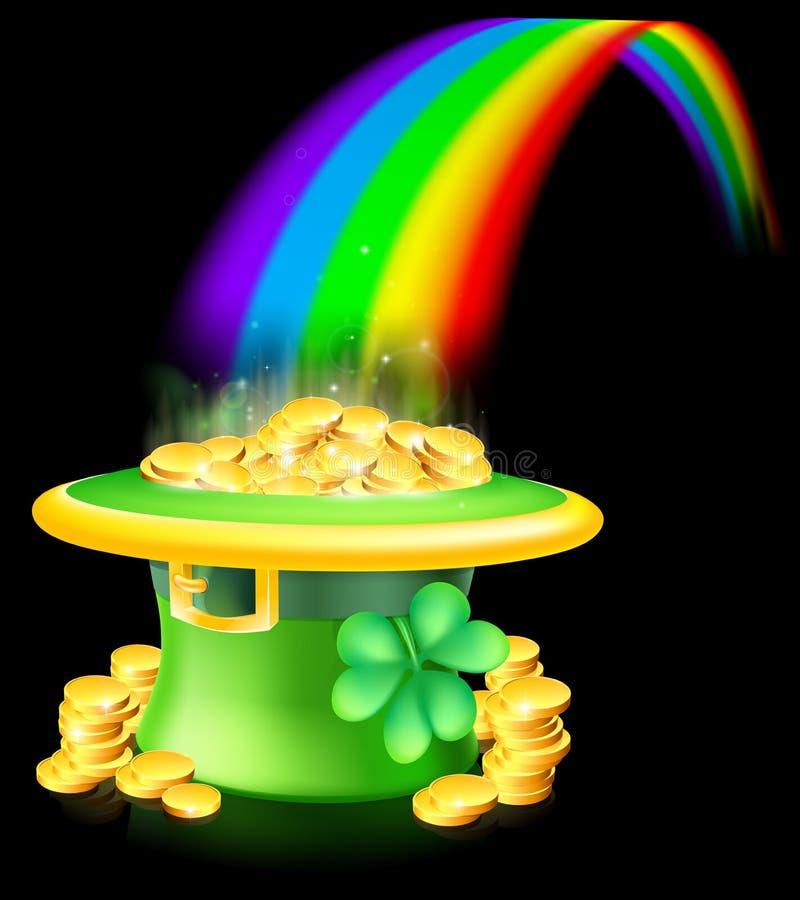 Goud aan het eind van de regenboog royalty-vrije illustratie