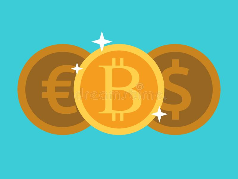 Goud bitcoin, euro, dollar vector illustratie