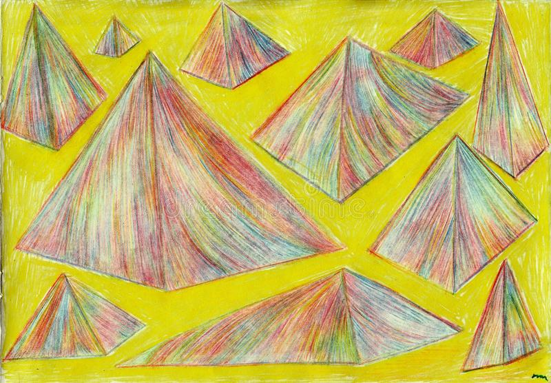 Goud en piramides royalty-vrije stock foto's
