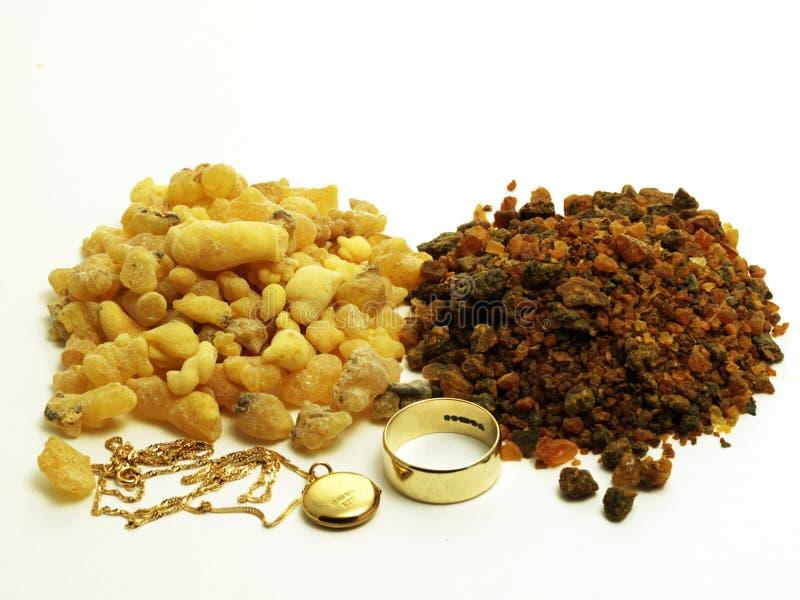 Goud, frankinsence en mirre royalty-vrije stock afbeelding